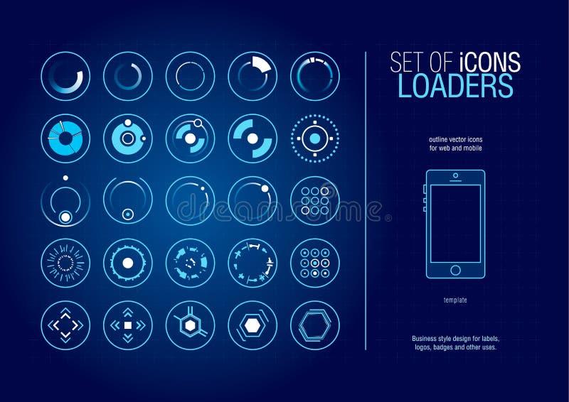 Insieme degli elementi e dei simboli infographic futuristici moderni per l'interfaccia utente illustrazione di stock