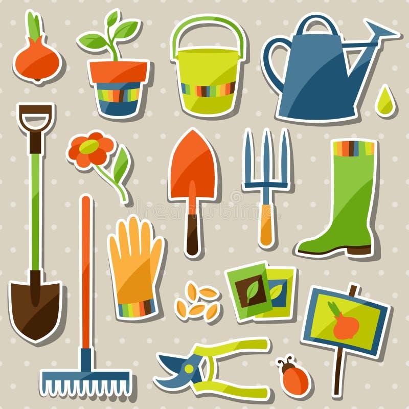 Insieme degli elementi e delle icone di progettazione dell'autoadesivo del giardino illustrazione di stock