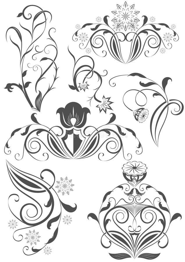 Insieme degli elementi floreali di disegno dell'annata illustrazione vettoriale