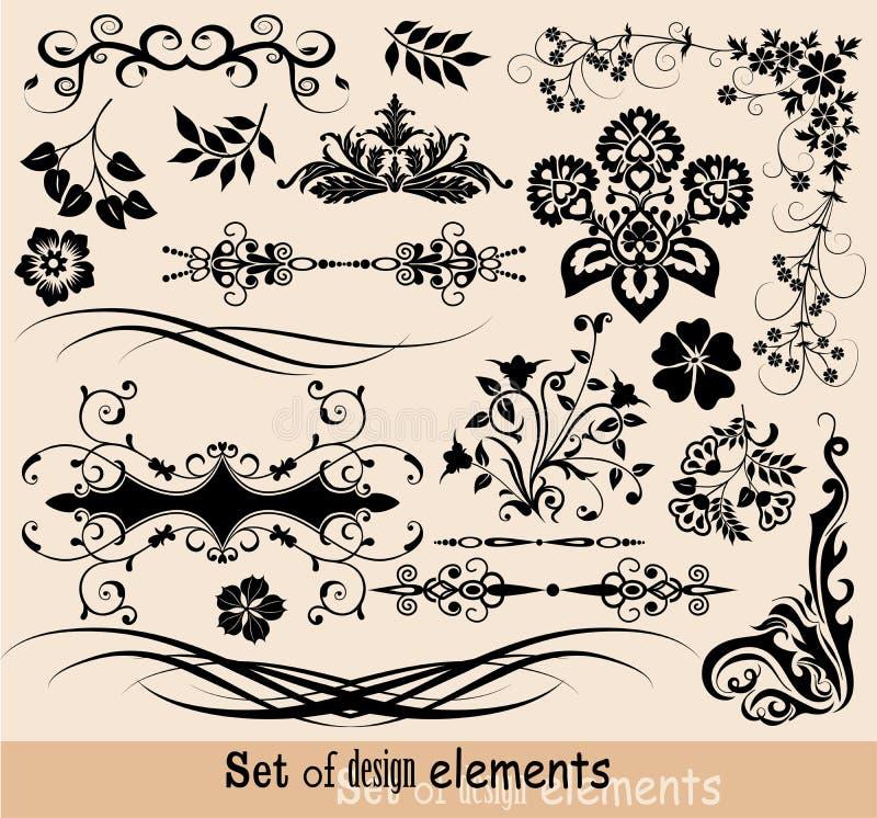 Insieme degli elementi floreali per il disegno,   royalty illustrazione gratis