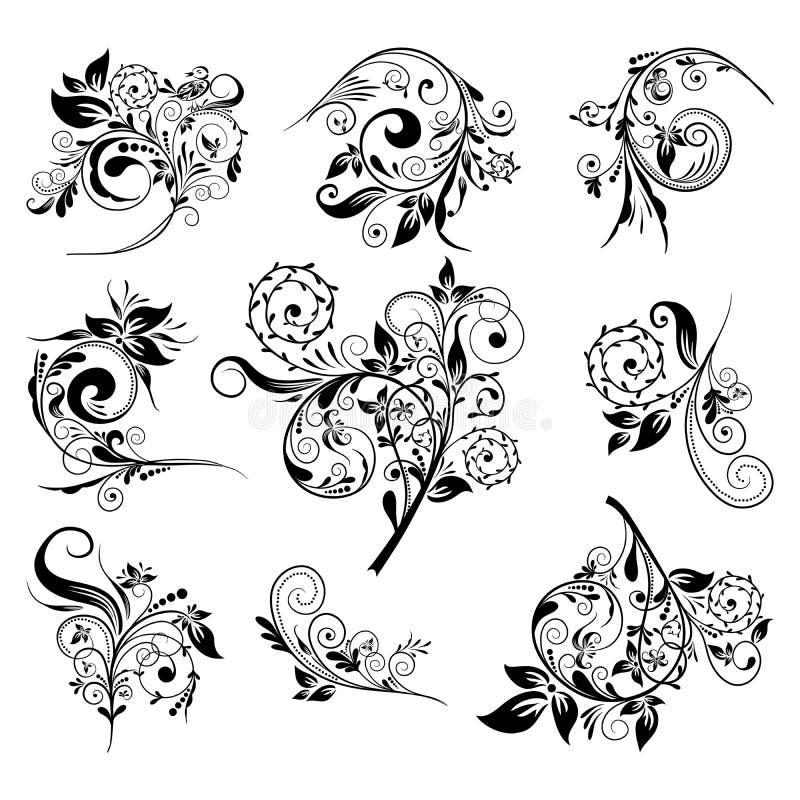 Insieme degli elementi floreali per il disegno, vettore royalty illustrazione gratis