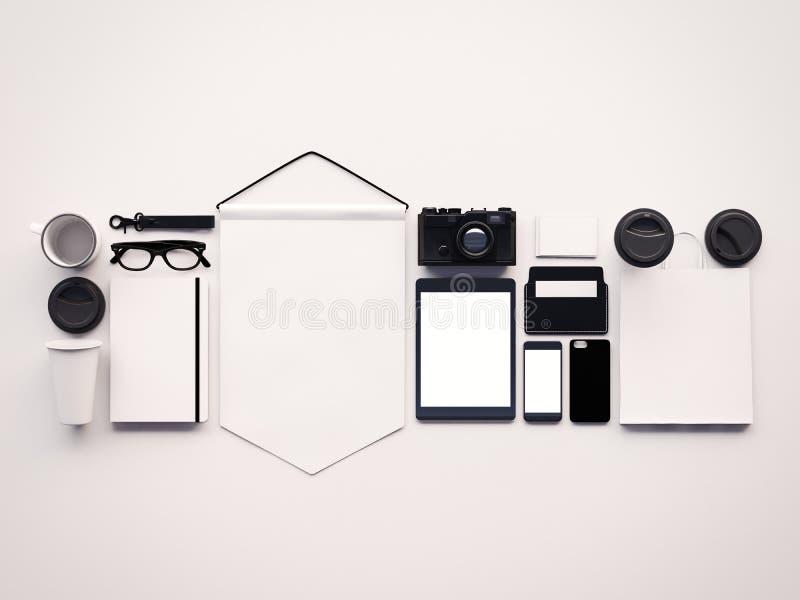 Insieme degli elementi generici puliti dell'ufficio progetti sui precedenti bianchi Orizzontale, vista superiore 3d rendono illustrazione vettoriale