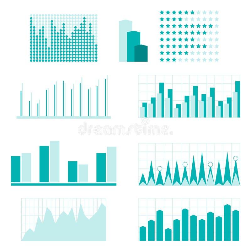 Insieme degli elementi infographic del diagramma per progettazione illustrazione vettoriale