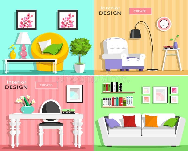 Insieme degli elementi interni del salone moderno: sofà, poltrona, sedia, tavola, lampada, scaffali, immagini Stile piano royalty illustrazione gratis