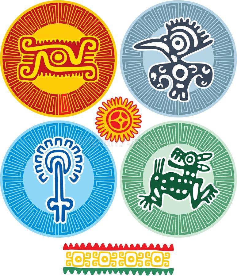 Insieme degli elementi messicani di disegno illustrazione di stock
