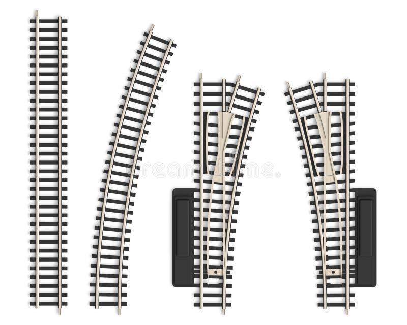 Insieme degli elementi miniatura del binario ferroviario illustrazione di stock