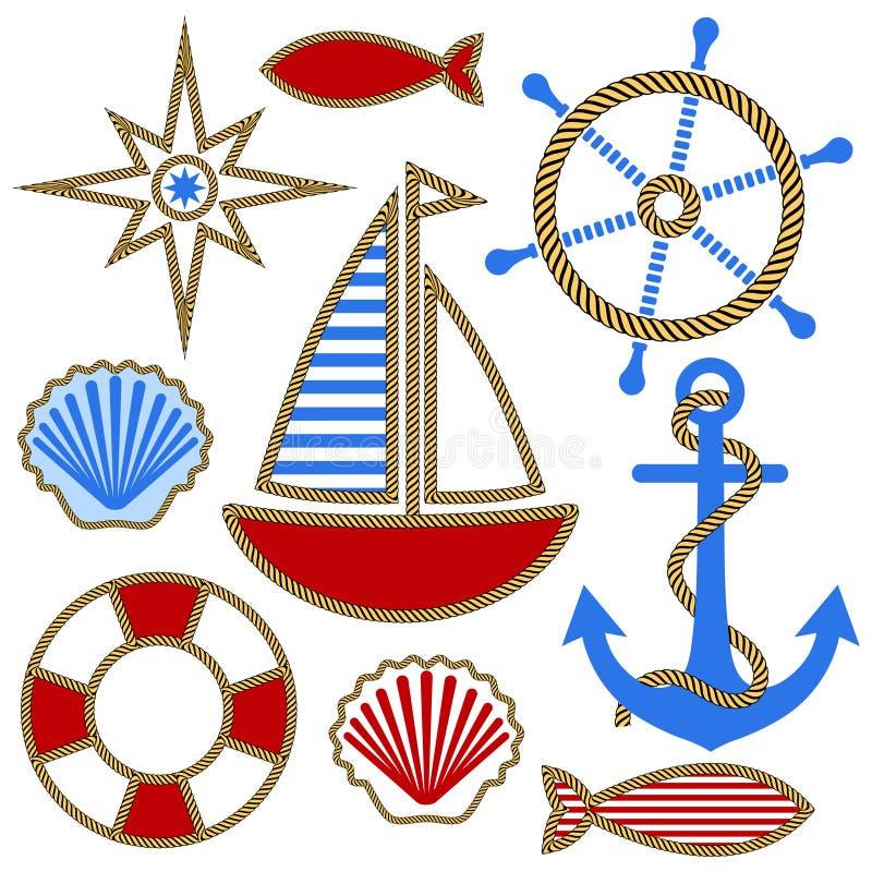 Insieme degli elementi nautici di disegno illustrazione di stock