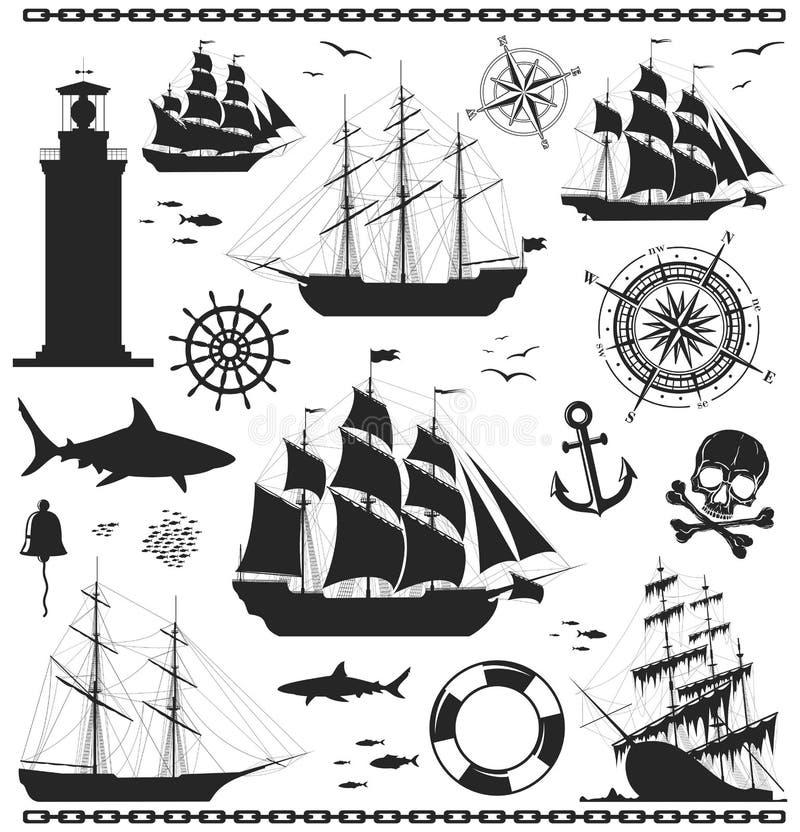 Insieme degli elementi nautici di disegno illustrazione vettoriale