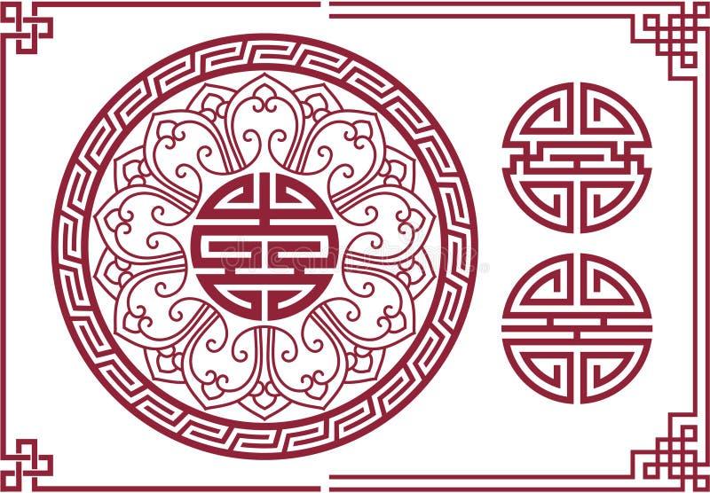 Insieme degli elementi orientali di disegno illustrazione di stock