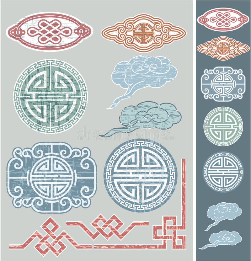 Insieme degli elementi orientali di disegno illustrazione vettoriale