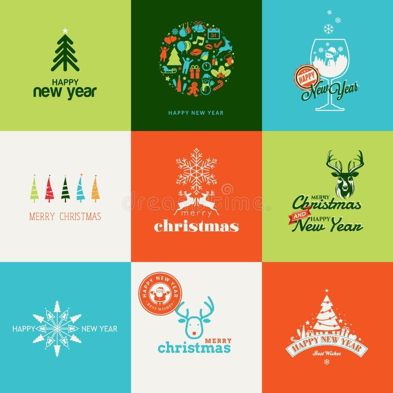 Insieme degli elementi per il greetin del nuovo anno e di Natale royalty illustrazione gratis
