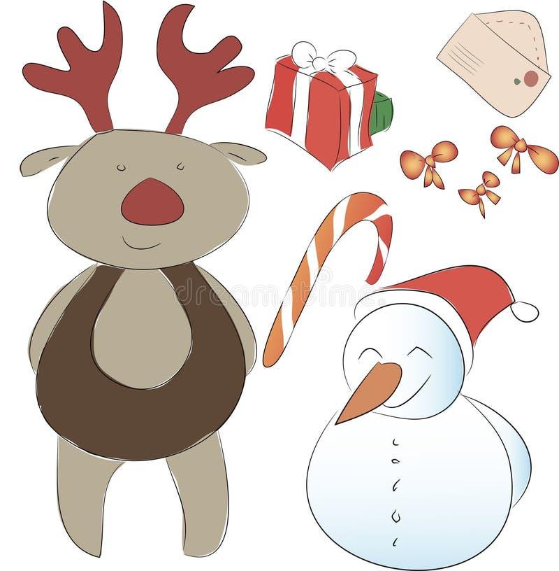 Insieme degli elementi per la decorazione di Natale o del nuovo anno Assistente S immagine stock libera da diritti