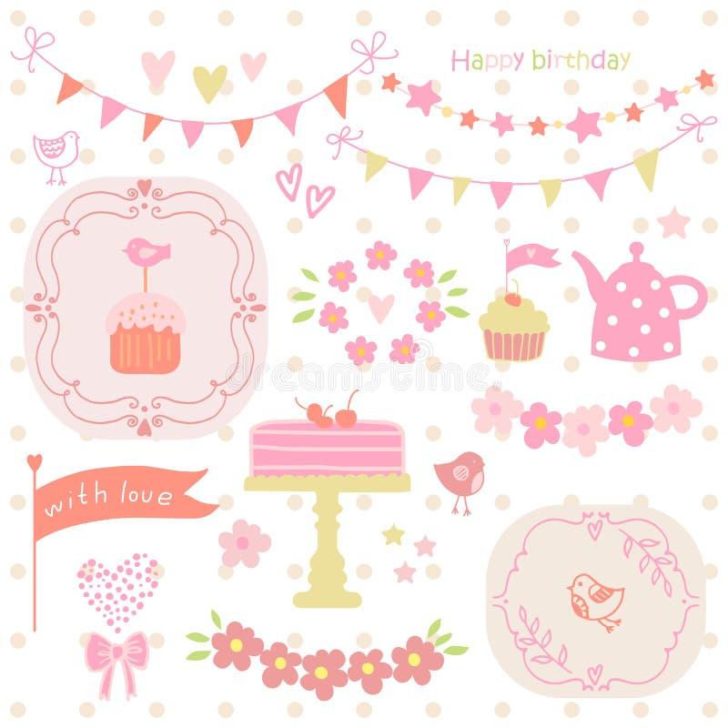 Insieme degli elementi per la festa di compleanno, le cartoline d'auguri e l'album per ritagli illustrazione vettoriale