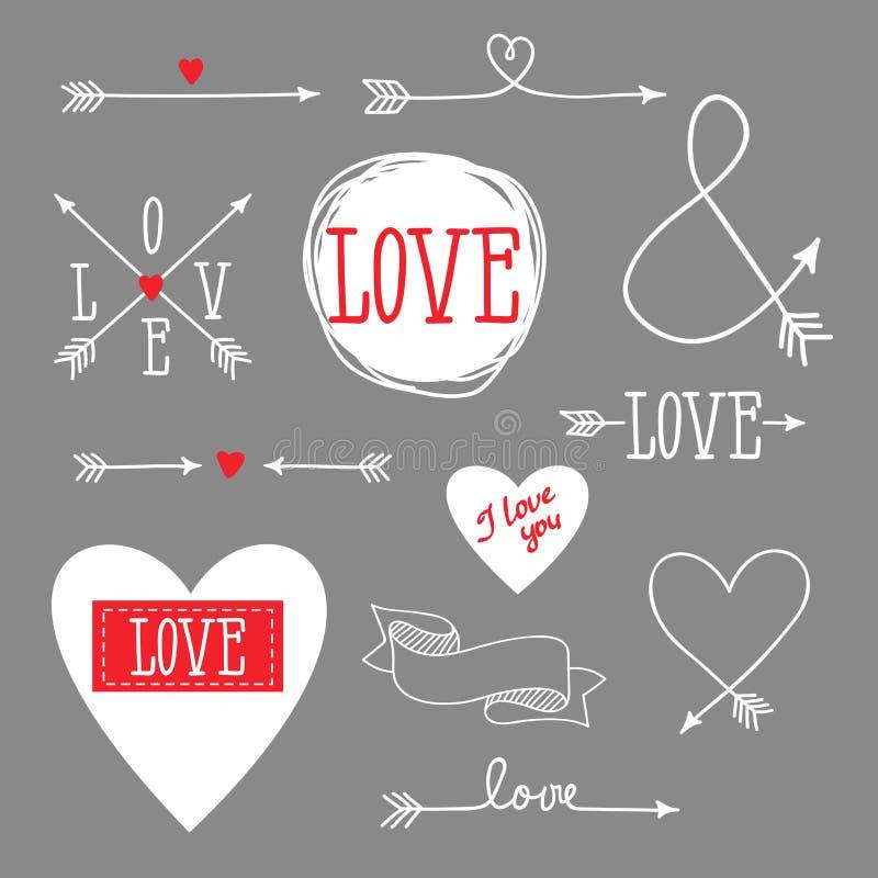 Insieme degli elementi per progettazione - frecce, cuori, amore illustrazione vettoriale