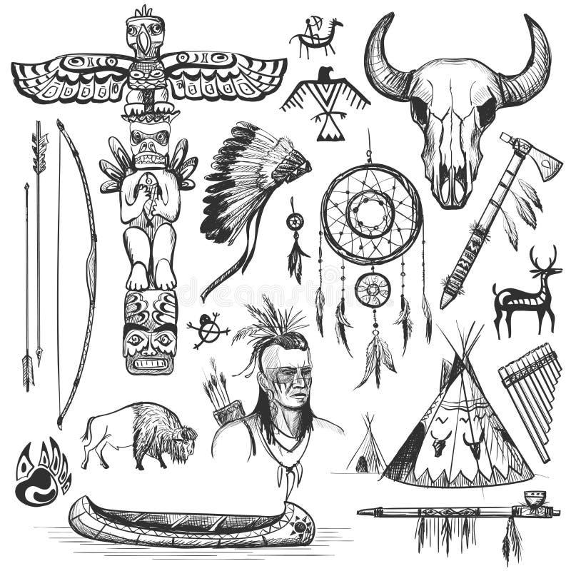 Insieme degli elementi progettati indiani americani ad ovest selvaggi illustrazione vettoriale