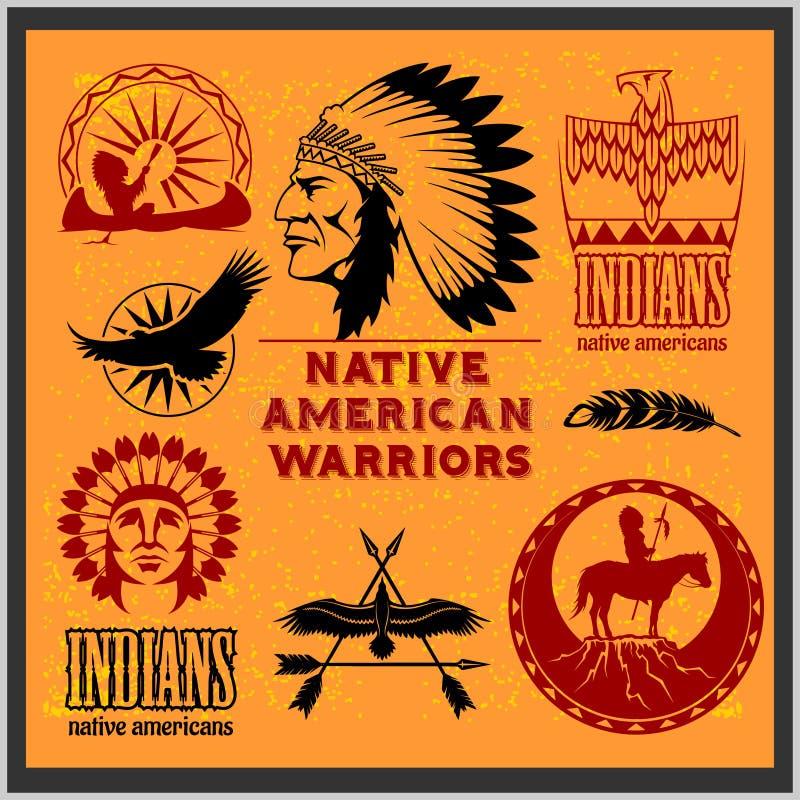 Insieme degli elementi progettati indiani americani ad ovest selvaggi Stile monocromatico illustrazione di stock