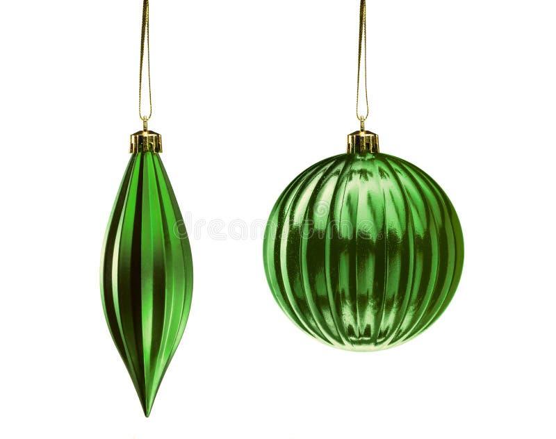 Insieme degli elementi verdi della decorazione di Natale isolati sul BAC bianco fotografie stock libere da diritti
