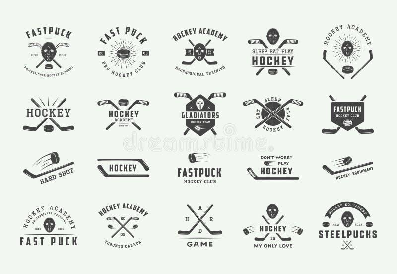 Insieme degli emblemi d'annata dell'hockey, del logos, dei distintivi, delle etichette e degli elementi di progettazione Arte gra royalty illustrazione gratis