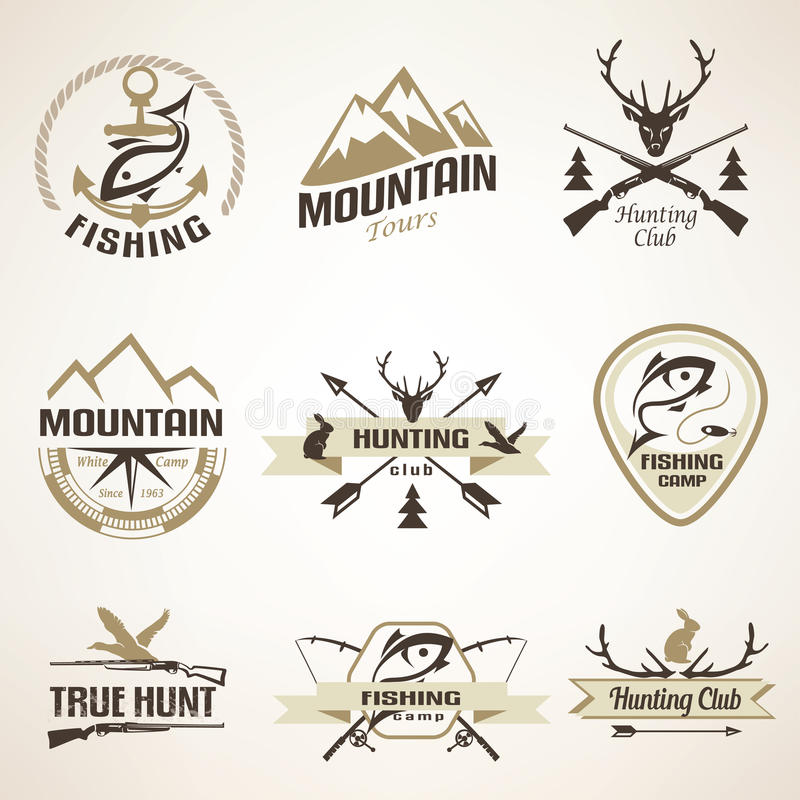 Insieme degli emblemi d'annata di pesca e di caccia illustrazione di stock
