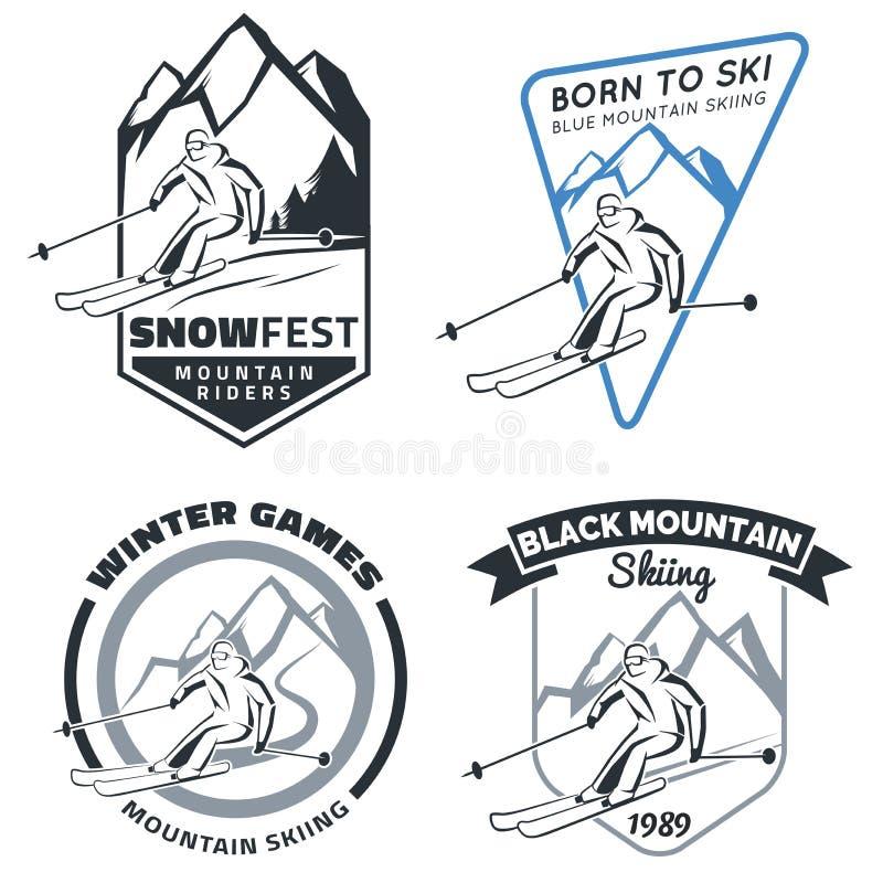 Insieme degli emblemi, dei distintivi e delle icone dello sci della montagna di inverno royalty illustrazione gratis