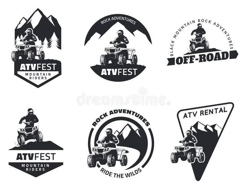 Insieme degli emblemi, dei distintivi e delle icone di ATV illustrazione vettoriale
