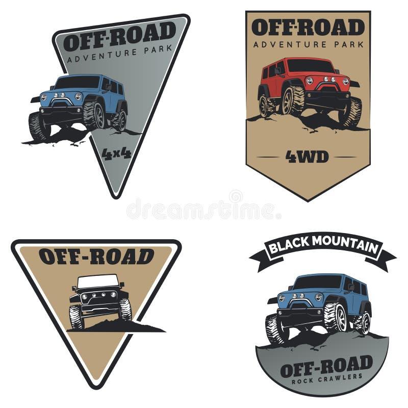 Insieme degli emblemi, dei distintivi e delle icone fuori strada classici dell'automobile del suv illustrazione vettoriale