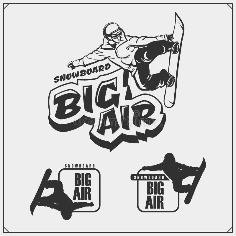 Insieme degli emblemi di snowboard con gli atleti Sport di inverno illustrazione di stock