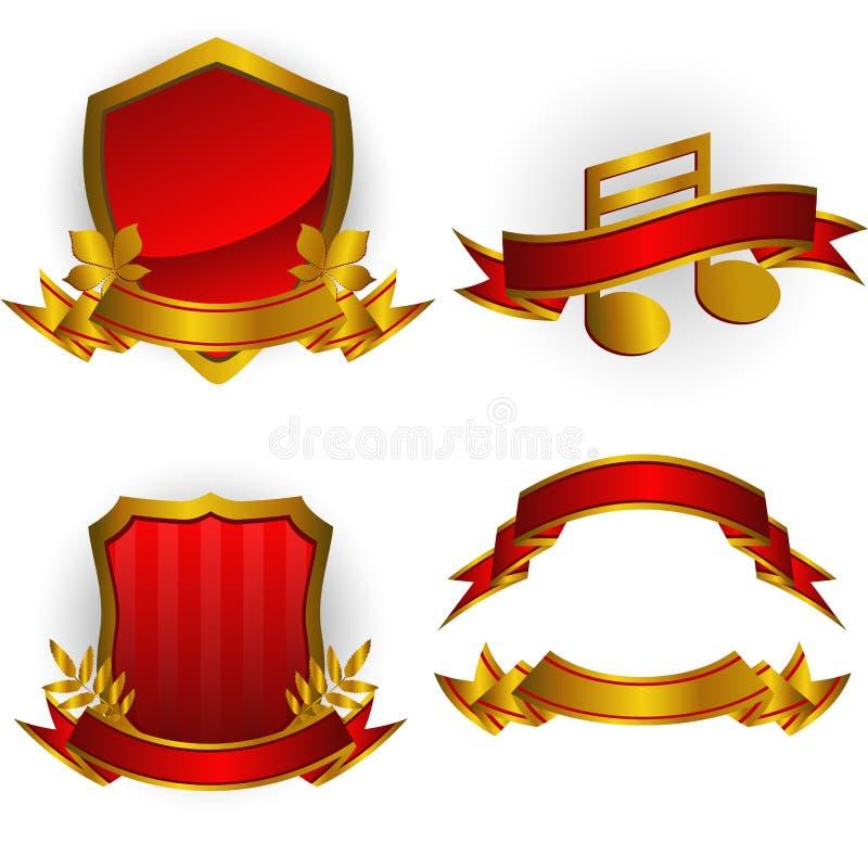 Insieme Degli Emblemi E Delle Bandiere Di Vettore Immagine Stock