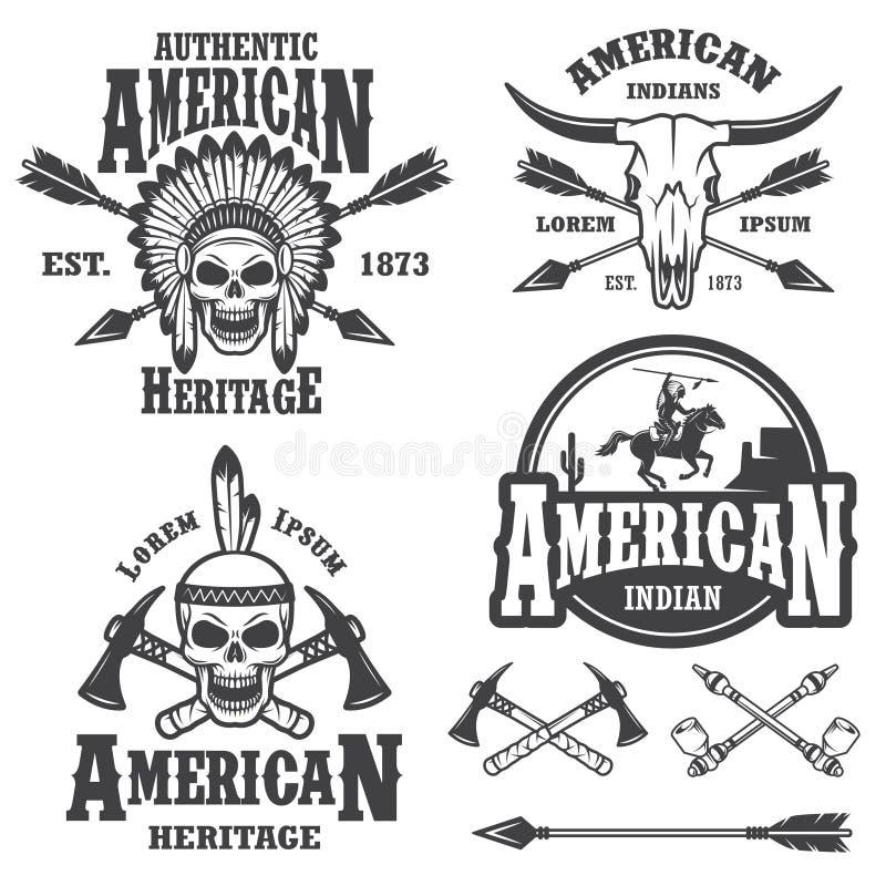 Insieme degli emblemi indiani americani illustrazione vettoriale