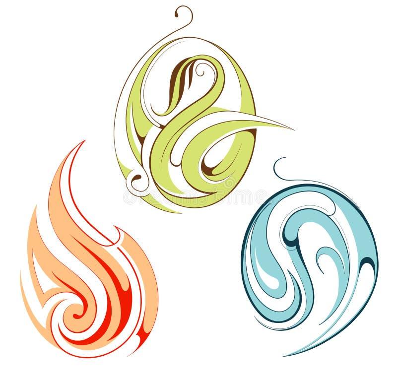 Insieme degli emblemi per fuoco, acqua e la pianta illustrazione vettoriale