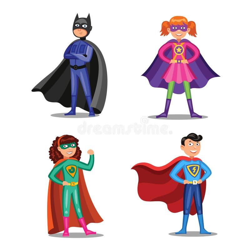 Insieme degli eroi eccellenti del fumetto Ragazzi e ragazze in costumi del supereroe royalty illustrazione gratis