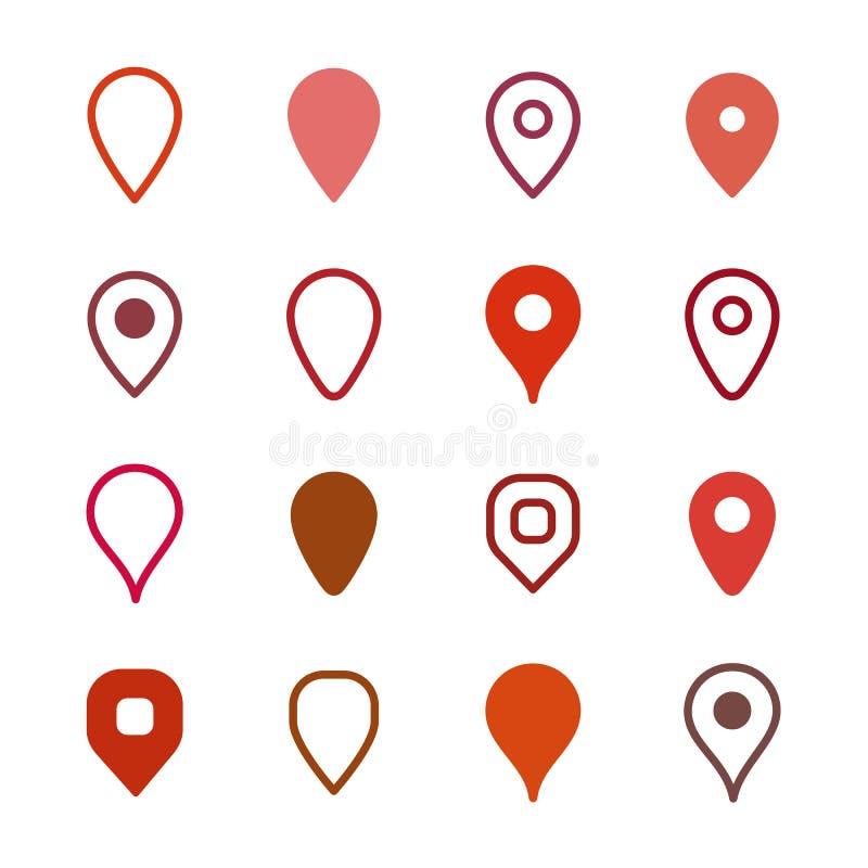Insieme degli indicatori della mappa illustrazione di stock