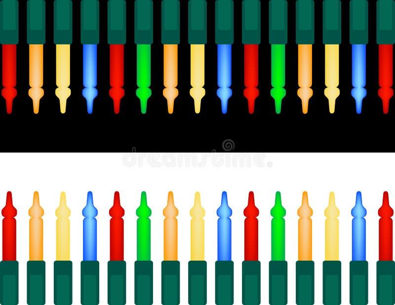Insieme degli indicatori luminosi di natale variopinti illustrazione vettoriale