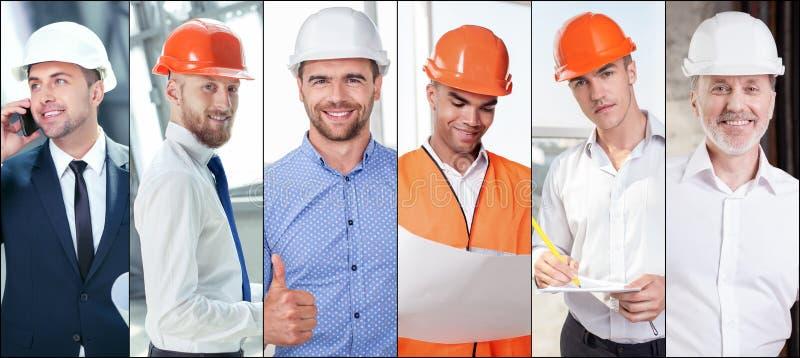 Insieme degli ingegneri abili che lavorano con la gioia immagini stock libere da diritti