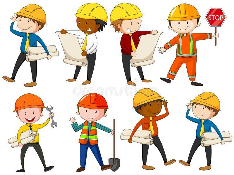 Insieme degli ingegneri e dei muratori illustrazione di stock