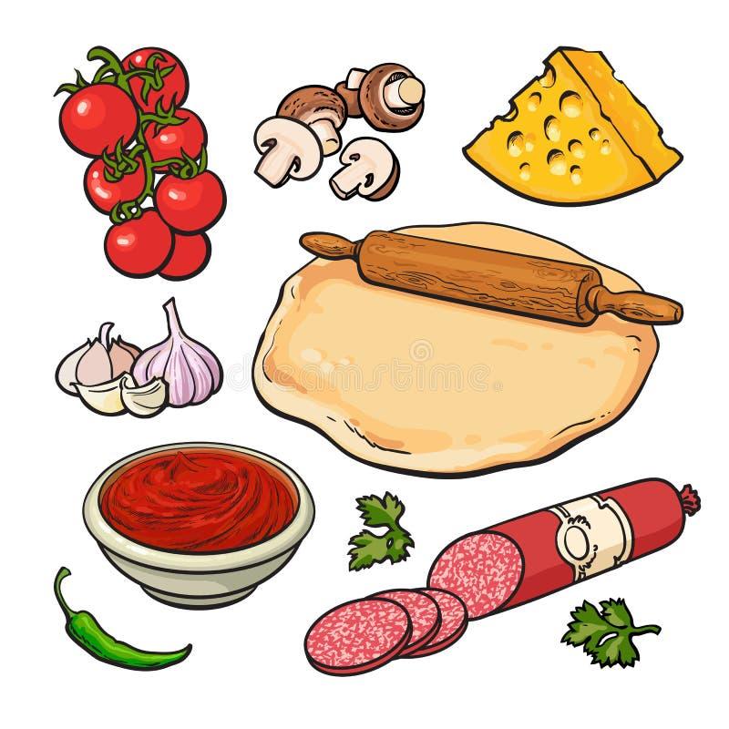 Insieme degli ingredienti della pizza di stile di schizzo royalty illustrazione gratis