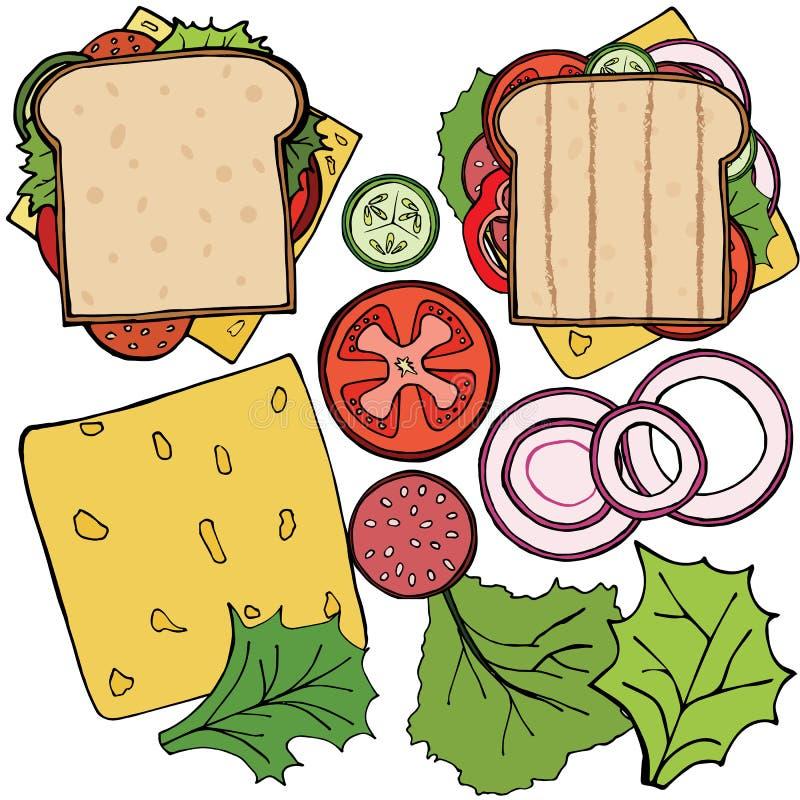 Insieme degli ingredienti per l'hamburger ed il panino Verdure affettate, panino, cotoletta Icona piana del fumetto dell'illustra illustrazione vettoriale
