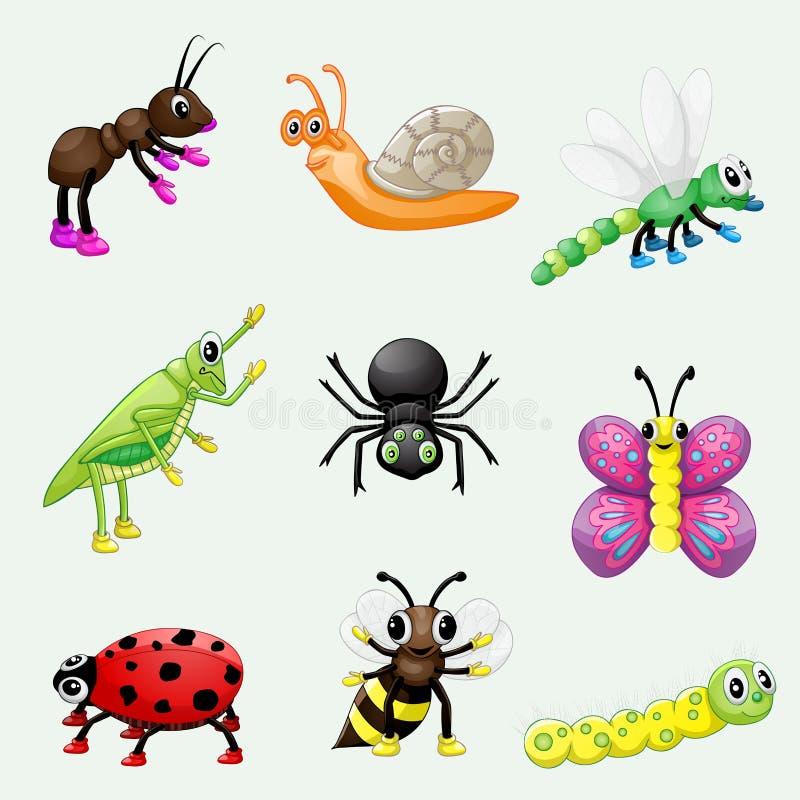 Insieme degli insetti svegli del fumetto illustrazione di stock
