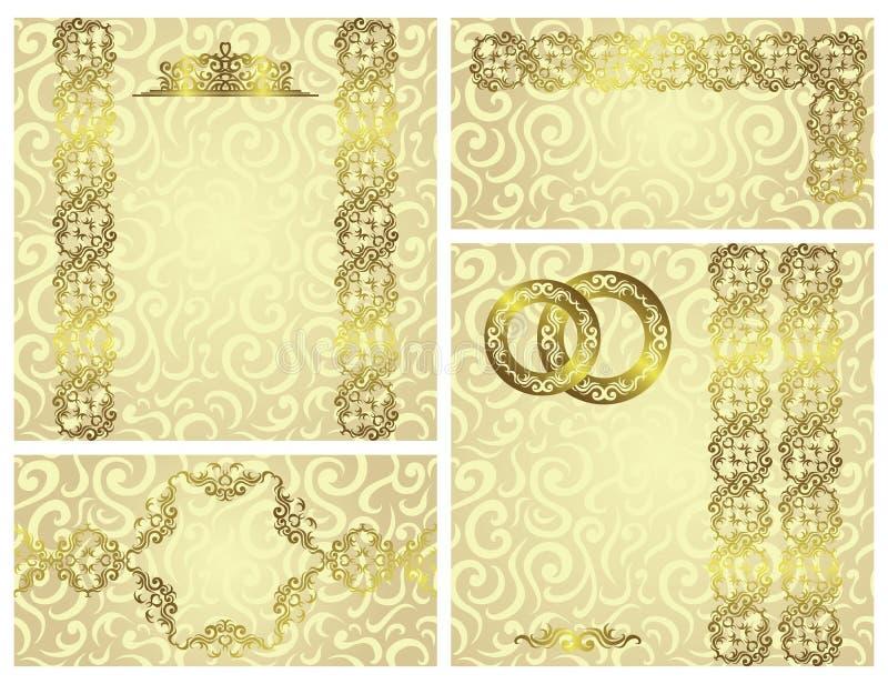 Insieme degli inviti di nozze illustrazione di stock
