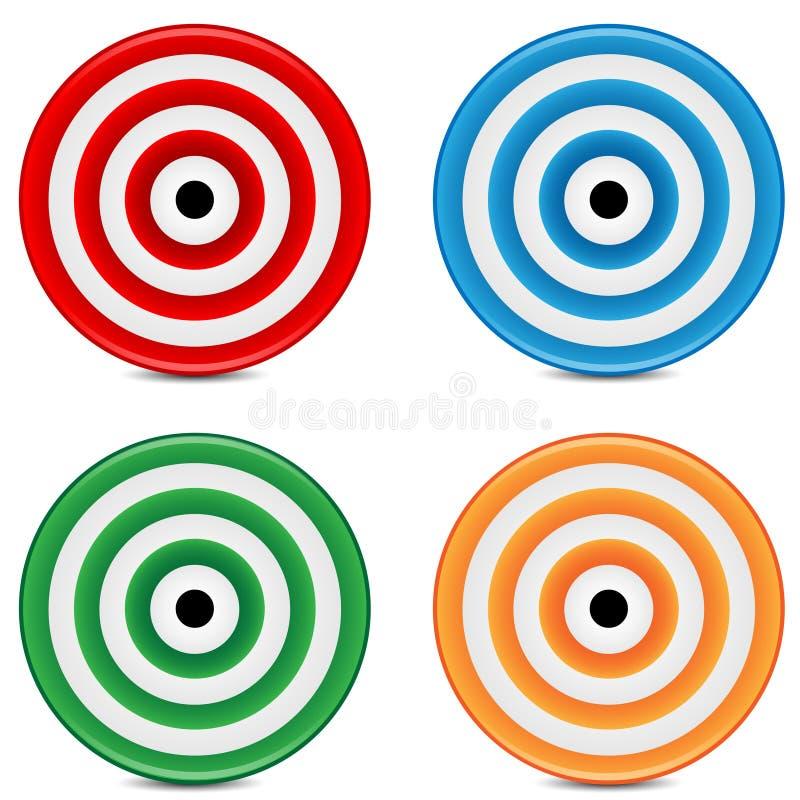 Insieme degli obiettivi variopinti illustrazione di stock