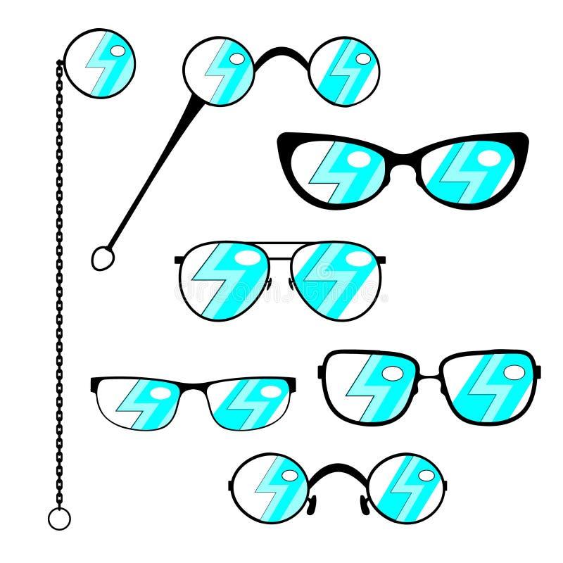 Insieme degli occhiali della siluetta Pagine ai vetri moderni o d'annata con un abbagliamento piano alla moda, pure lorgnette e m royalty illustrazione gratis