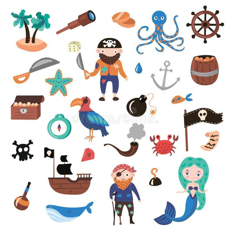 Insieme degli oggetti del fumetto di vettore dei pirati Partito del pirata e di avventure per l'asilo Bambini avventura, tesoro illustrazione vettoriale
