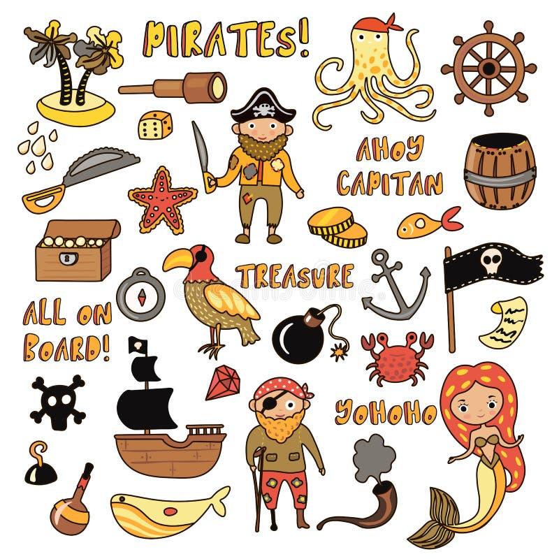 Insieme degli oggetti del fumetto di vettore dei pirati Partito del pirata e di avventure per l'asilo Bambini avventura, tesoro royalty illustrazione gratis