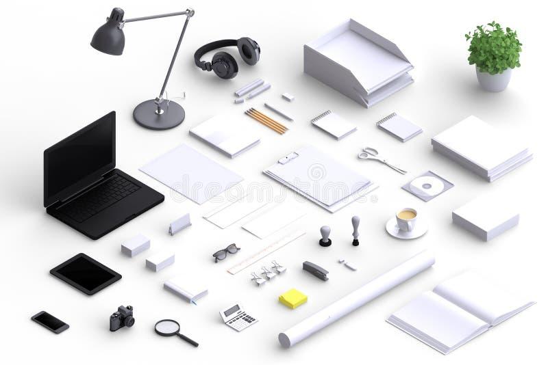 Insieme degli oggetti dell'ufficio dello spazio in bianco di varietà organizzati per la presentazione della società illustrazione vettoriale