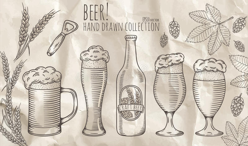 Insieme degli oggetti della birra illustrazione di stock
