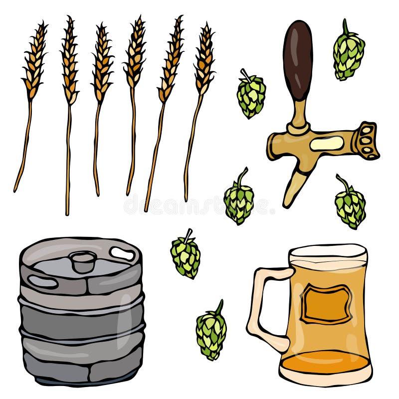 Insieme degli oggetti della birra: Luppolo, malto, tazza, rubinetto, barile Isolato su una priorità bassa bianca Schizzo disegnat illustrazione vettoriale