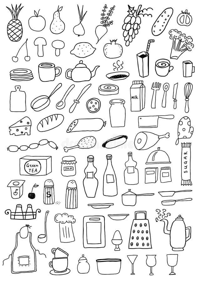 Insieme Degli Oggetti Della Cucina Illustrazione Vettoriale ...