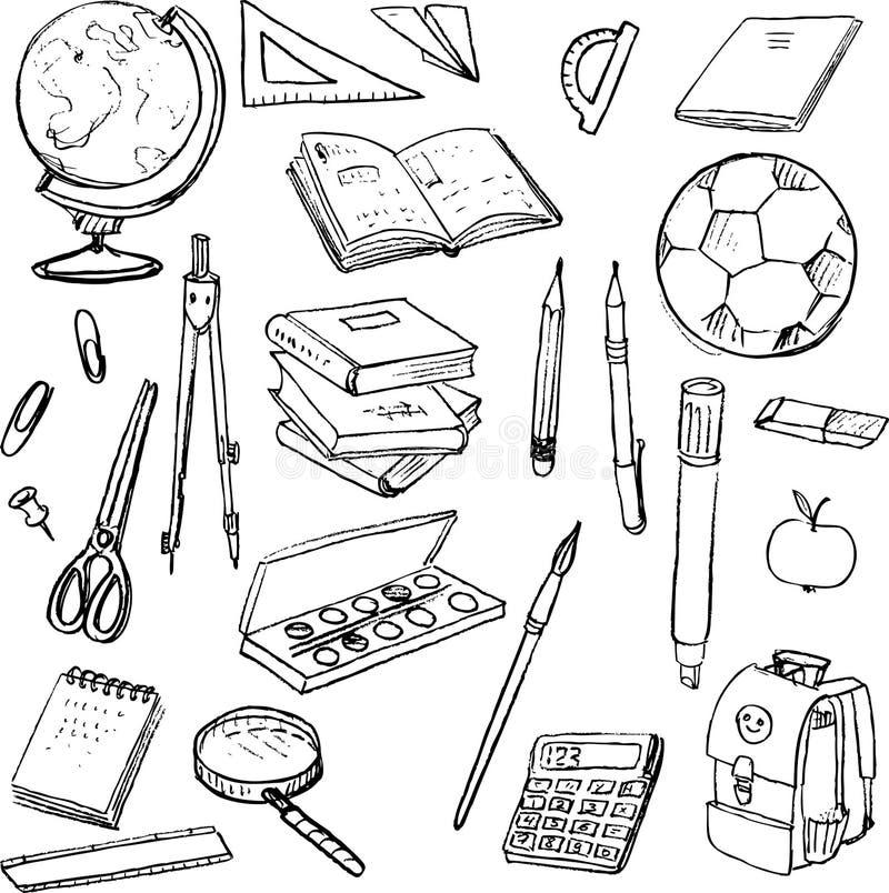 Insieme degli oggetti della scuola illustrazione for Disegni per la casa degli artigiani
