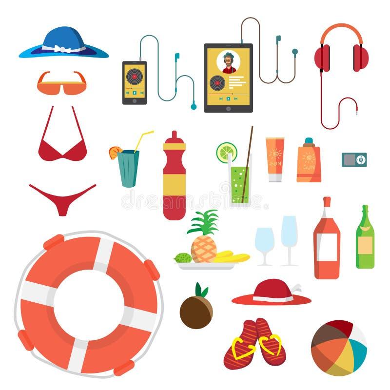 Insieme degli oggetti della spiaggia di estate Vacanze estive Cappello, costume da bagno royalty illustrazione gratis