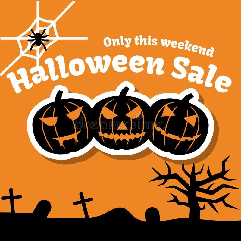 Insieme degli oggetti, delle zucche e dell'iscrizione di Halloween Cartolina d'auguri per il partito e la vendita illustrazione di stock